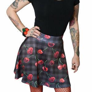 Kreeps Skirts - Cherry Skull Skirt L Gothic Plaid Black Red Skater
